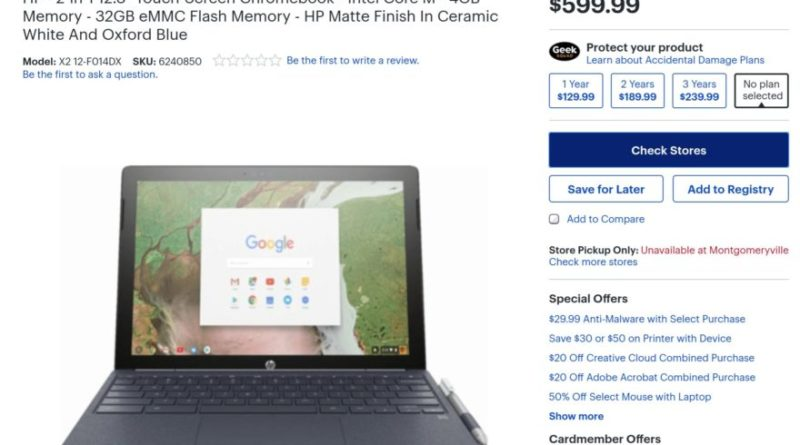 HP Chromebook X2 listing at Best Buy