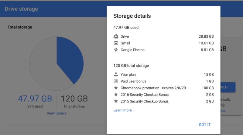 My Google Drive storage