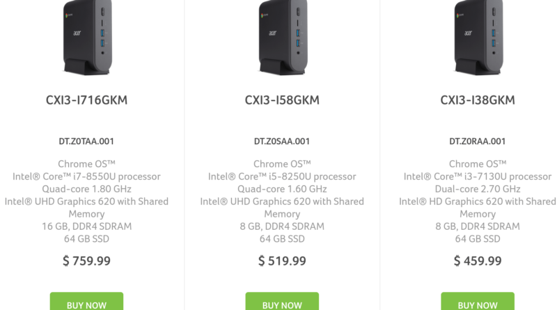 Acer Chromebox CXI3 specs and pricing