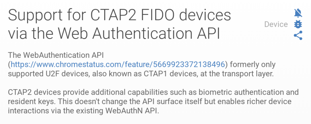 CTAP2 support Chrome OS 69