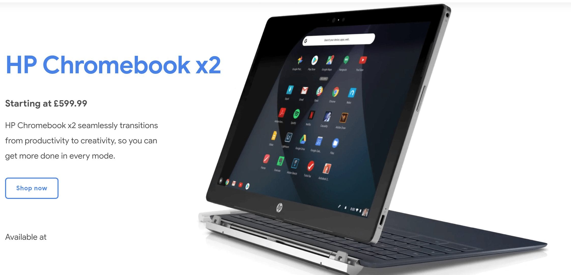 HP Chromebook X2 for UK