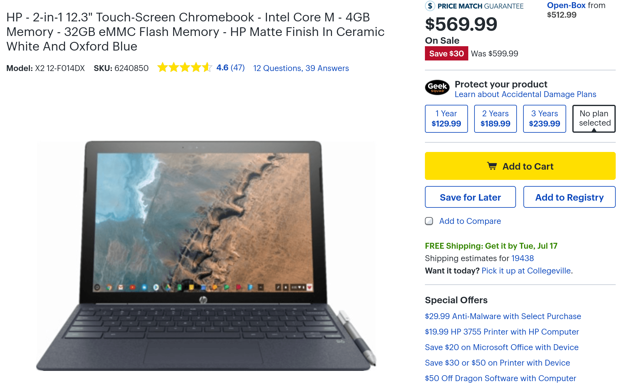 HP Chromebook X2 on sale at Best Buy
