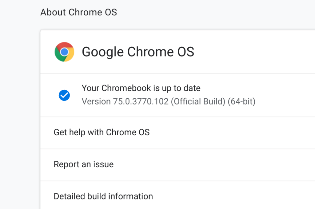 Chrome OS version numbers