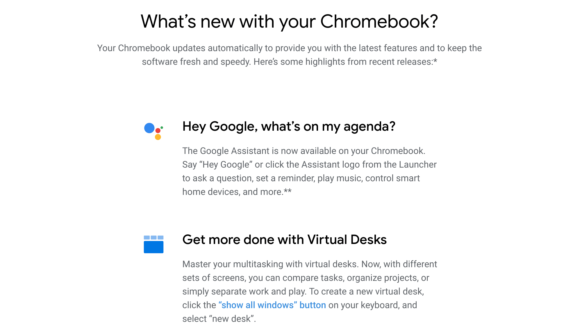 The new Chrome OS release notes on Chromebooks are already old