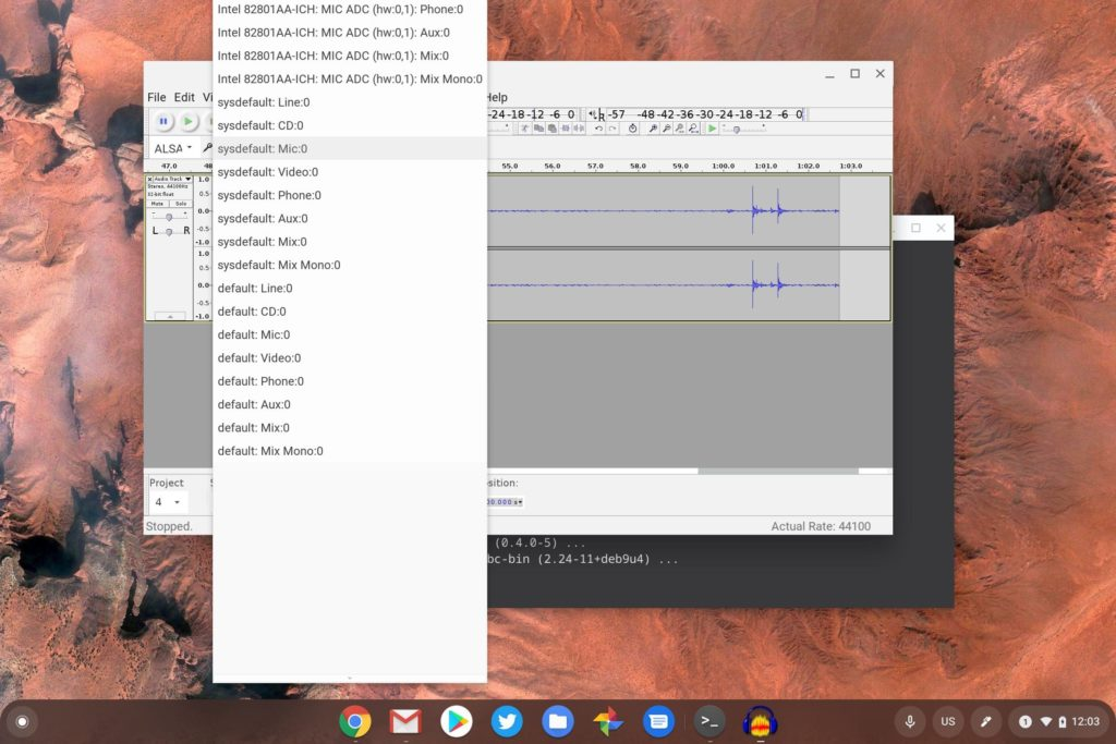 Choose microphone input on Chrome OS in Audacity