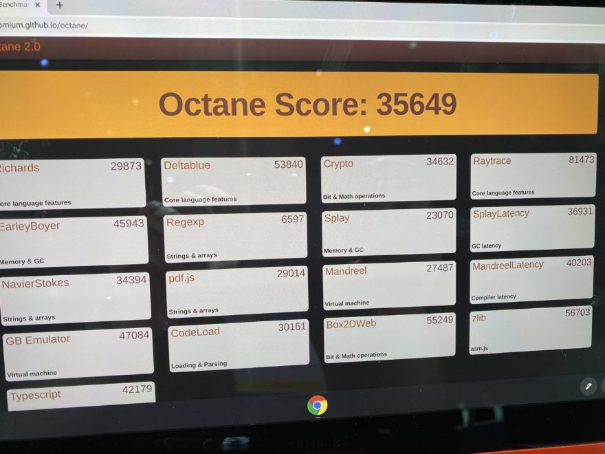 Early 2020 Octane score of the Samsung Galaxy Chromebook