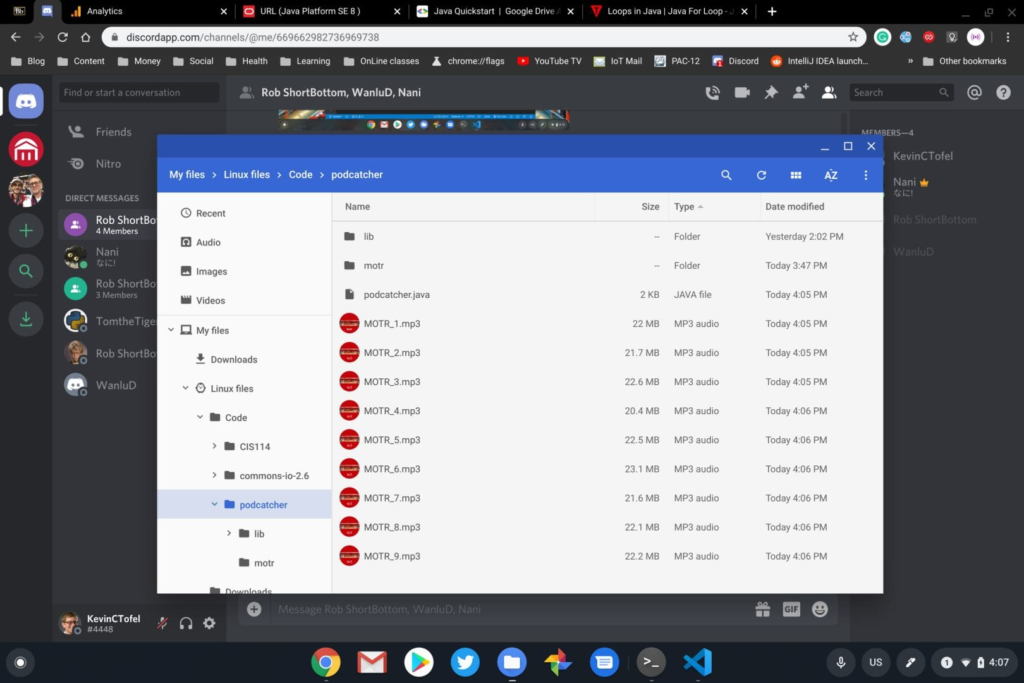 Automatic podcast archiving on a Chromebook using Java