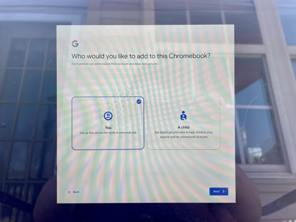 Add User options on Chromebook