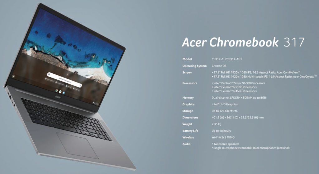 Acer Chromebook 317 specifications