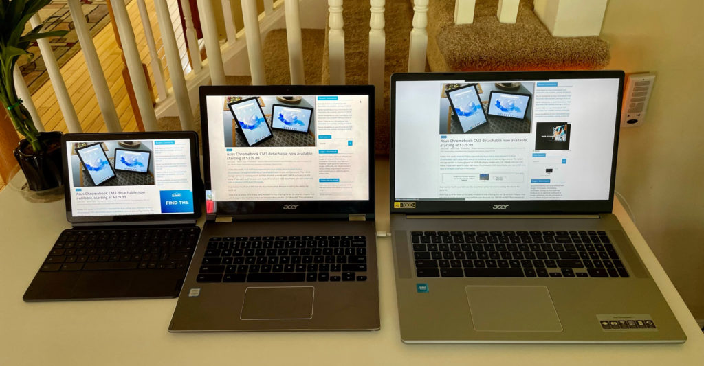 Acer Chromebook 317 compared to Acer Chromebook Spin 13 and Lenovo Duet Chromebook