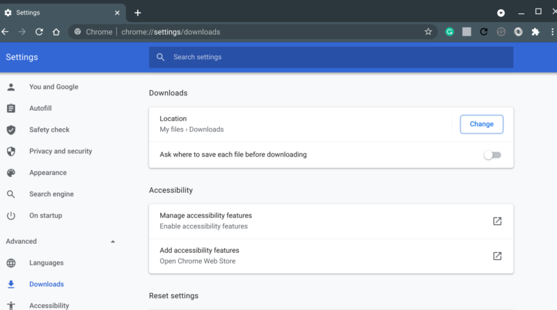 Default download settings in Chrome