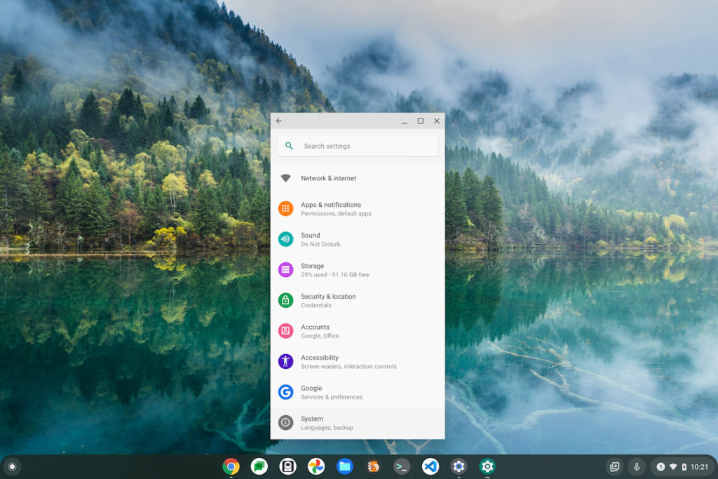 Android preferences on a Chromebook