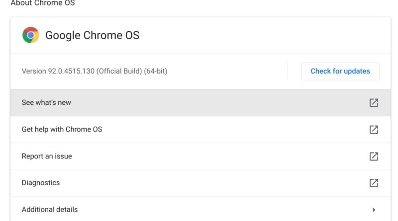 Chrome OS 92 Stable Channel update