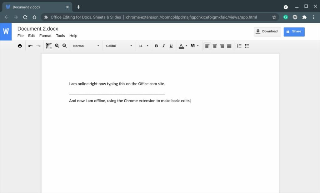 Google Docs editor for Office document