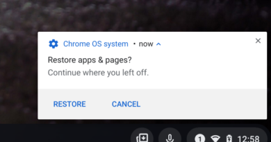 Chrome OS 94 Stable Channel full restore of apps on a Chromebook