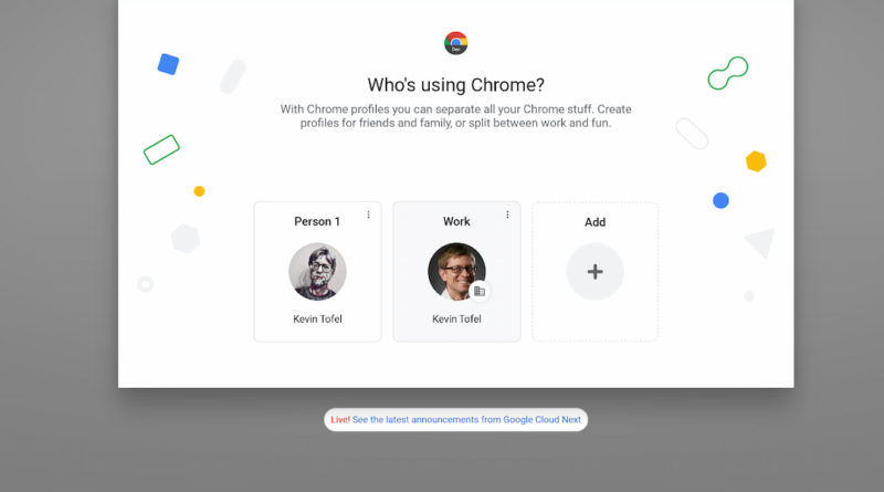 Lacros browser user profile switching on Chromebooks